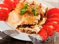 Рецепта Сaрми от палачинки и плънка от ориз с гъби печени на фурна